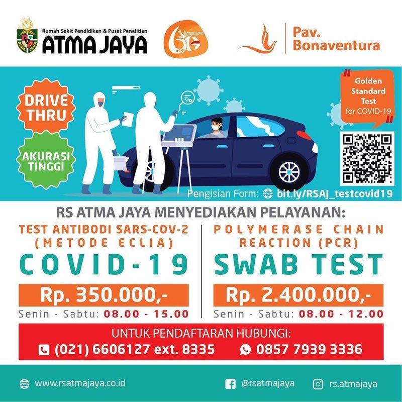 biaya drive thru rapid test Jakarta-RS Atmajaya