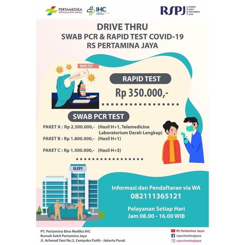 biaya drive thru rapid test Jakarta-RS Pertamina Jaya