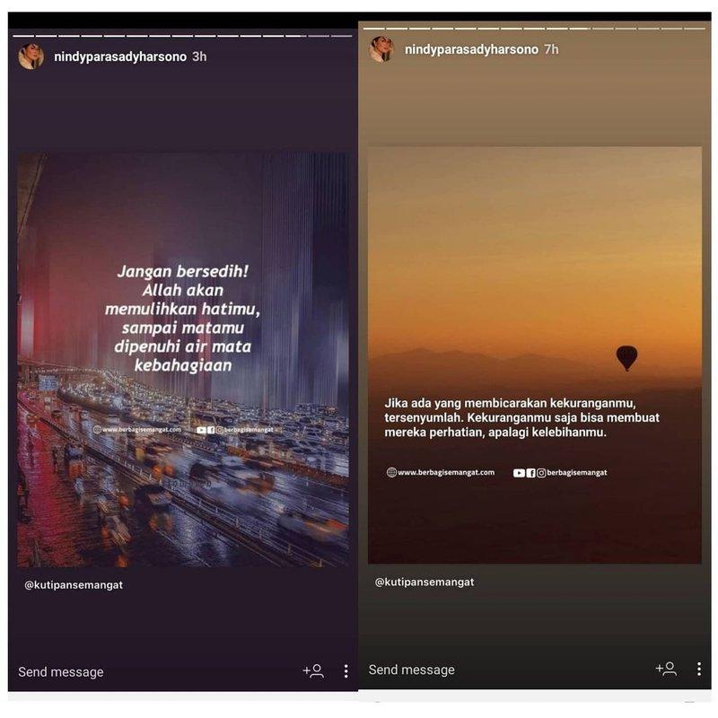 Nindy Ayunda curhat di Instagram
