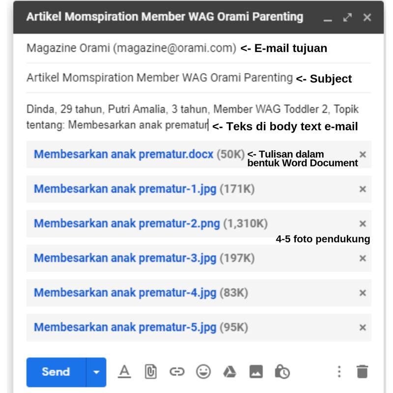 Contoh e-mail yang dikirim untuk Momspiration