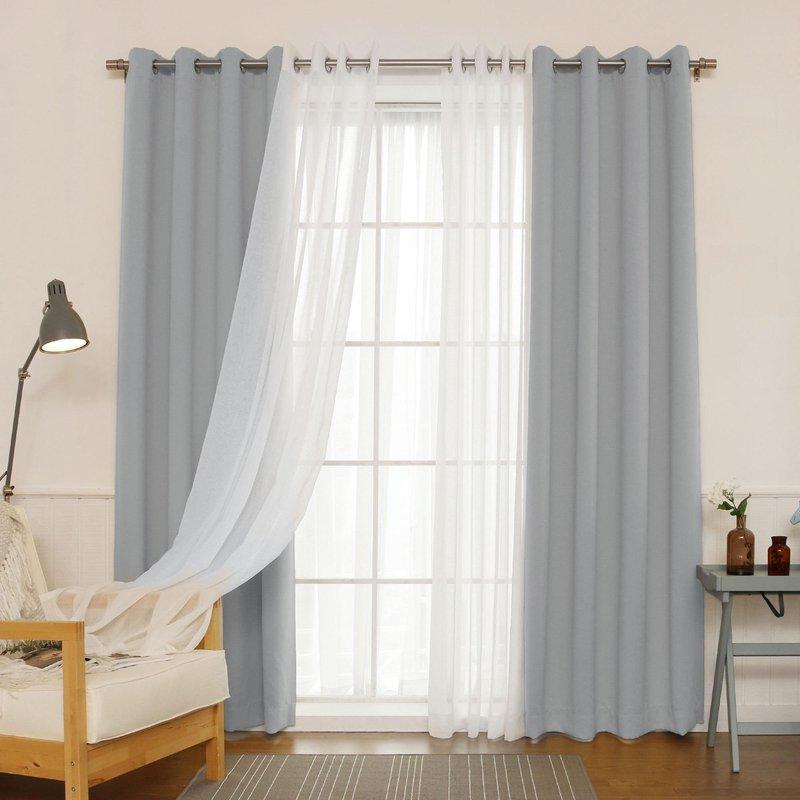 Aurora Home MIX MATCH CURTAINS Blackout and Muji Sheer 84 inch Silver Grommet 4 piece Curtain Panel Pair 52 x 84 a2d7eb0a 8541 4adb 9438 6b90e62f335e
