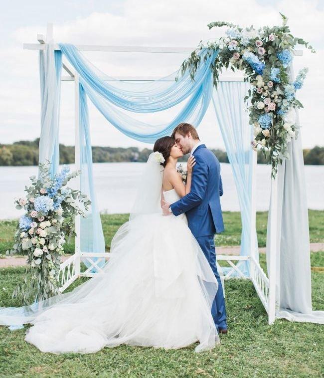 Dekorasi Pernikahan Simpel Biru