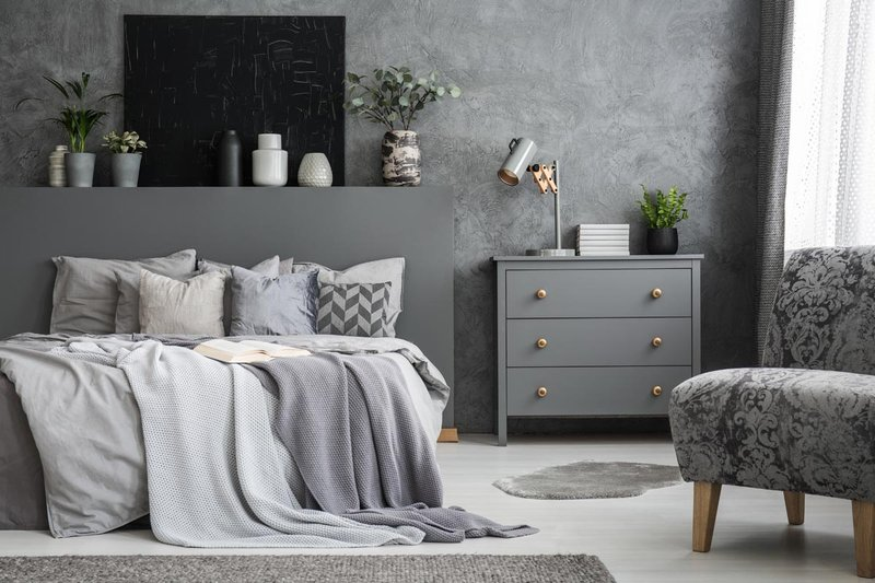 Desain Kamar Monokrom Bertema Soft Grey