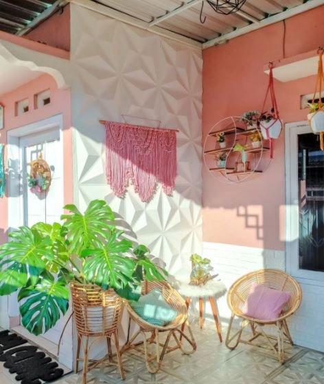 Desain Teras Rumah Minimalis Bertema Pastel Natural