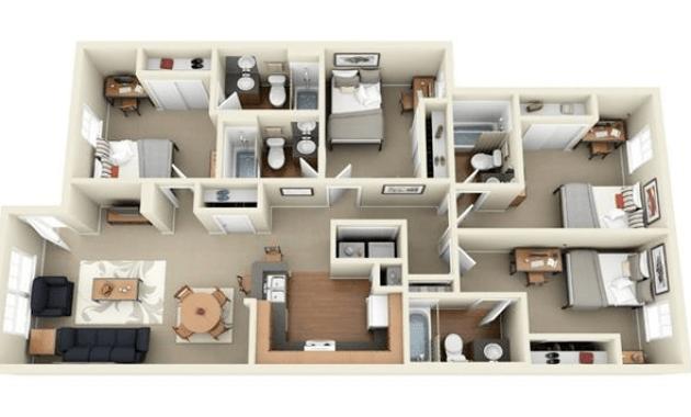 Denah rumah minimalis 4 kamar