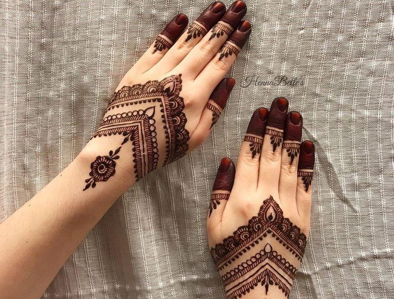 Desain Henna Pendek untuk Tangan