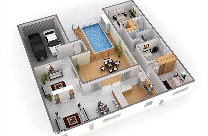 Denah rumah minimalis kolam renang