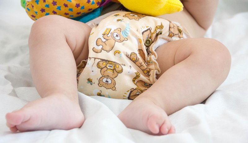 baby with clother diaper