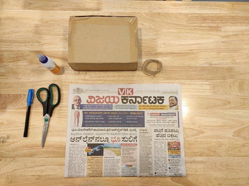 bahan cara membuat bingkai dari kardus dan koran bekas.jpg