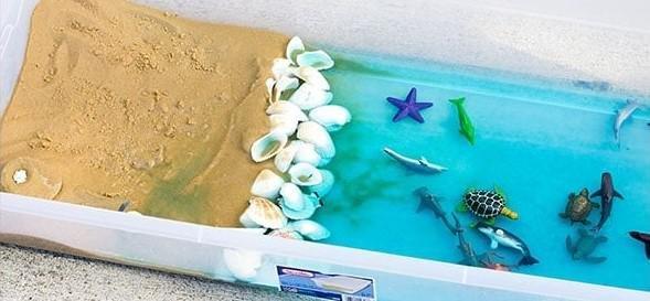 beach inspired sensory bin