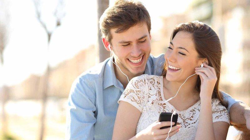 couple headphones