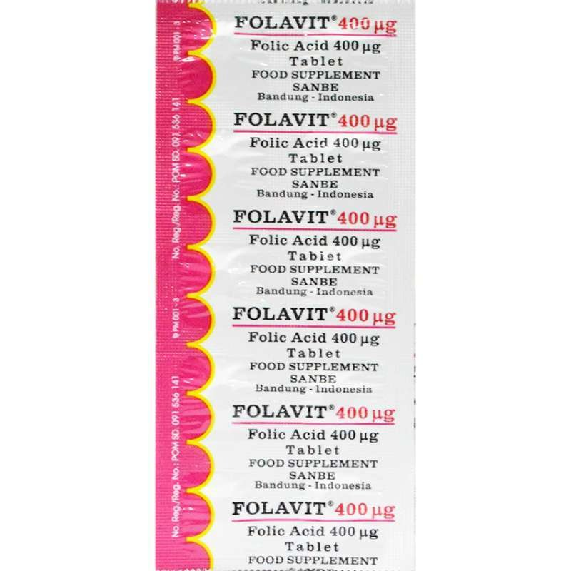 Folavit suplemen asam folat dalam dosis 400 mcg