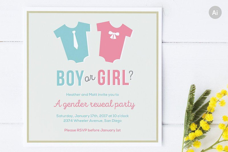 gender reveal party invitation template 1