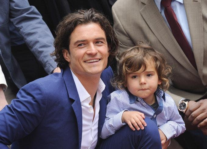 orlando bloom and son flynn 2014 getty