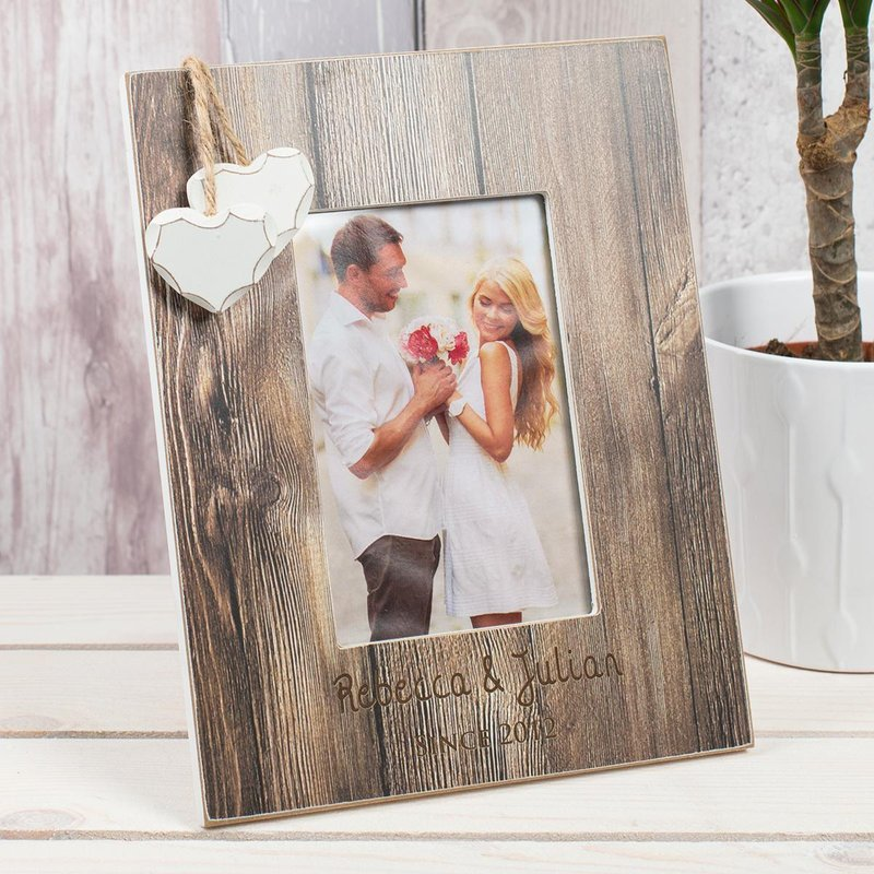 personalised distressed wood photo frame couples a