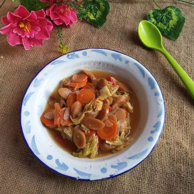 resep tumis sawi putih wortel sosis.jpg