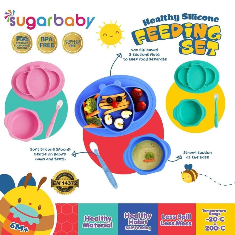 perlengkapan makan anak, silicone feeding set
