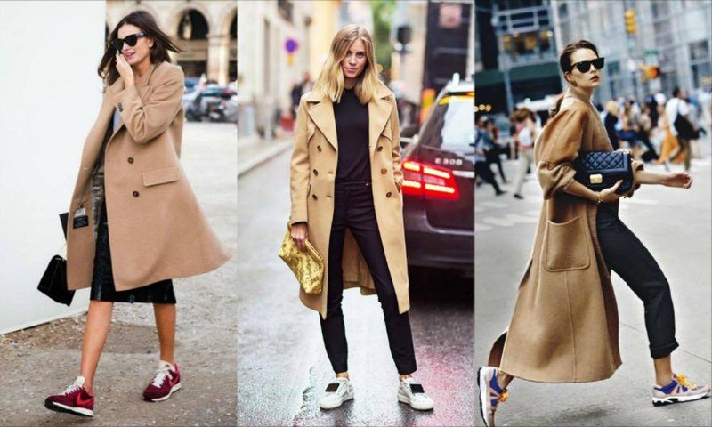 sneakers with coat