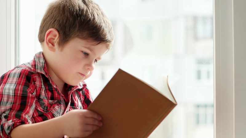 videoblocks kid holding book smart boy flipping pages of schoolbook little child closeup portrait interested kid reading book boy looking for his favorite story turning page after page of printed edition