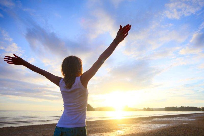 vitality beach sunrise woman