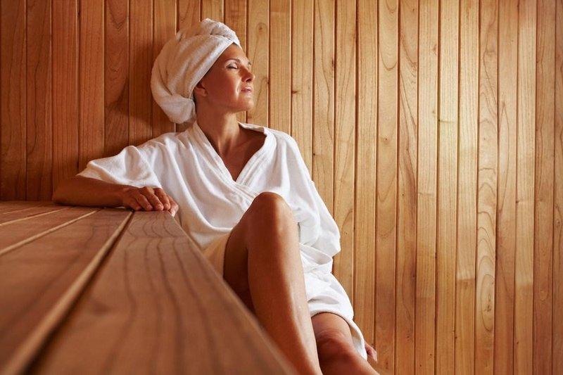 woman sauna towel